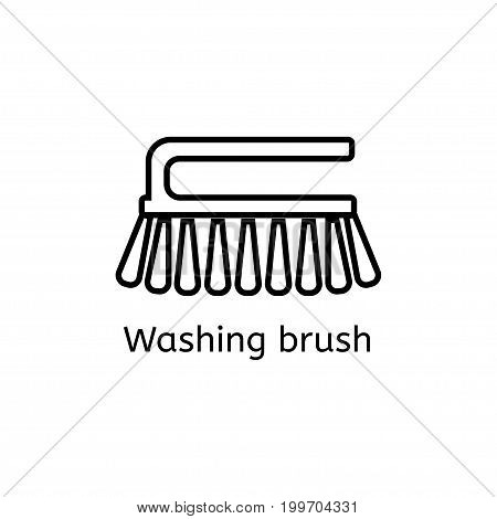 Cleaning brush simple line icon. Washing brush thin linear signs. Toilet cleaning simple concept for websites, infographic, mobile app.