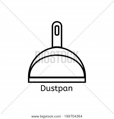 Dustpan simple line icon. Cleaning thin linear signs. Simple concept for websites, infographic, mobile app.