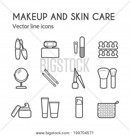 Makeup skin care simple line icons. Mascara, lipstick, powder, eye shadow, perfume, cream, foundation, eyeliner, mirror, hair comb and other make-up items. Makeup thin linear signs for manicure, pedicure and Visage.