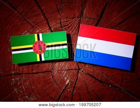 Dominica Flag With Dutch Flag On A Tree Stump Isolated