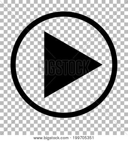 Play sign. Dark gray icon on transparent background. Play icon.