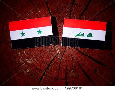 Syrian Flag With Iraqi Flag On A Tree Stump Isolated