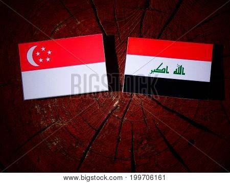 Singaporean Flag With Iraqi Flag On A Tree Stump Isolated