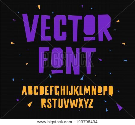 Geometric vector font on black background. Uppercase letters. Lettering typography. English alphabet. Elements for design.