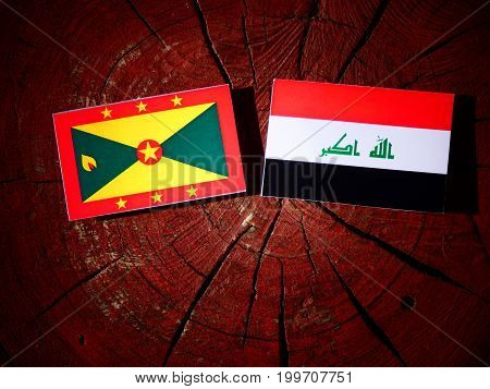 Grenada Flag With Iraqi Flag On A Tree Stump Isolated