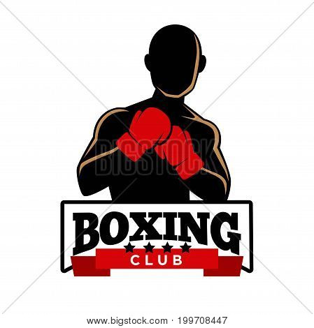 Boxing five-star club logotype with bald sportsman in red gloves that stands in fighting position silhouette with sign in frame underneath isolated cartoon vector illustration on white background.