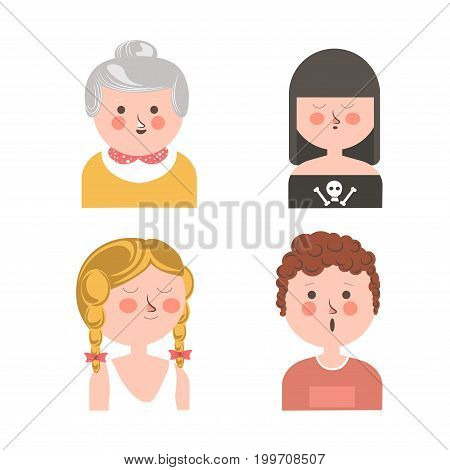 Women of different ages and surprised guy funny avatars. Friendly granny, gothic teenager, cute girl with pigtails and curly guy with open mouth isolated vector illustrations on white background.
