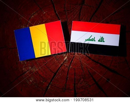 Romanian Flag With Iraqi Flag On A Tree Stump Isolated