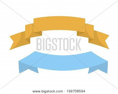 Wavy colorful short ribbons pieces of yellow and blue colors flat templates for text sign placement on promotional banners and posters isolated cartoon vector illustration on white background.
