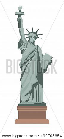 Famous Statue of Liberty with torch in the right hand, tablet in left, long robe and seven rays on crown isolated cartoon vector illustration on white background. Monument placed in New York city.