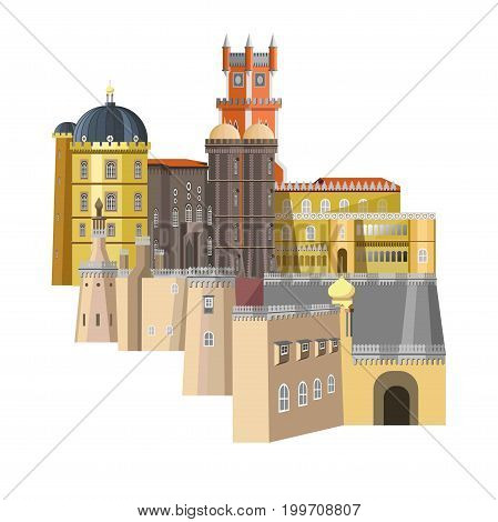 Medieval buildings with unusual structure and rich design isolated cartoon flat vector illustration on white background. Tall towers, rounded roofs, sharp metal spires and large fancy windows.