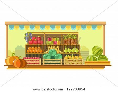 Market with ripe apple, blue grape, sweet pepper, exotic pineapple, tasty orange, tropical banana, juicy pear, fresh tomato, leafy cabbage, sour lemon, big watermelon and pumpkin vector illustration.