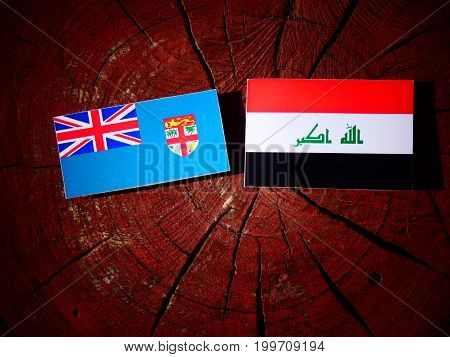Fijian Flag With Iraqi Flag On A Tree Stump Isolated