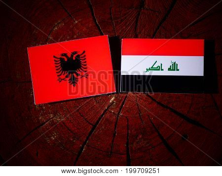 Albanian Flag With Iraqi Flag On A Tree Stump Isolated