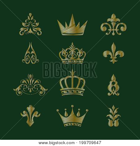 Set of royal symbols and design elements. Imitation of embroidery. Vector illustration.