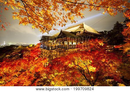 Beautiful Landscape Veiw Of Autumn Season With Colorful Maple Tree Klyomizu Dera Temple Kyoto Is Mos