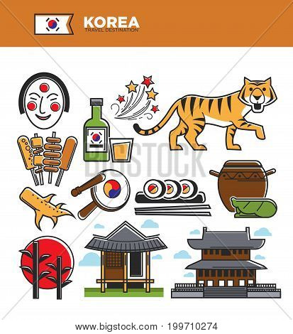 Korea travel famous landmark symbols and culture tourist attraction sightseeing. Korean flag, house architecture gimbap rolls, Seoul music theater mask and drums or kimchi food. Vector icons set