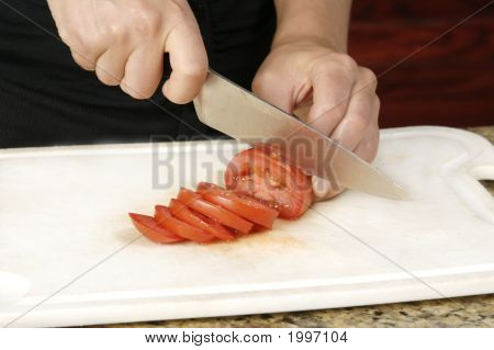 Slicing Tomatoe With Knife