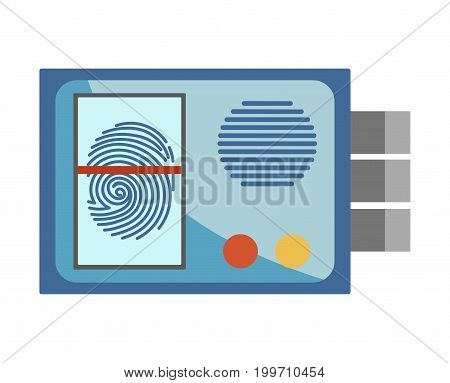 Protective entrance system with fingerprint scanner, voice dynamic, colorful bottoms and blue solid corpus isolated cartoon vector illustration on white background. Lock with high level of security.