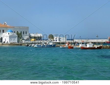 White Colored Greek Orthodox Church at the Old Port of Mykonos, Cyclades Islands, Greece