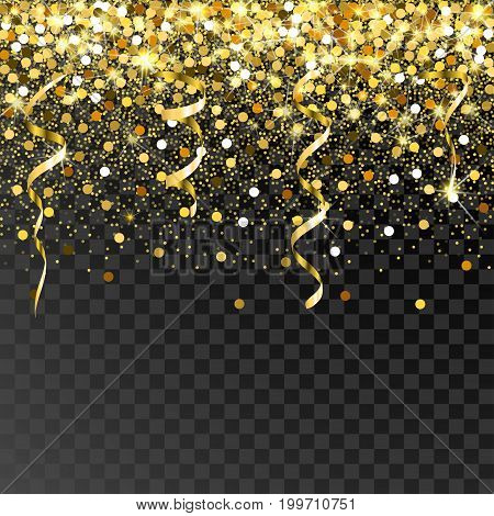 Falling gold serpentine and confetti on a black background. Scattered golden particles. Bright shining gold. Rich luxury fashion glitter backdrop. Gold round dots.