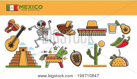 Mexico travel famous symbols or tourist traditional culture attractions. Mexican flag, Aztec or Maya pyramid architecture, sombrero and tequila drink, tacos and chili pepper or banjo. Vector icons set
