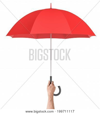 A male hand holds a large classic red umbrella with an open canopy and a black curved handle. Safety and protection. Friendly hand. Security measures.