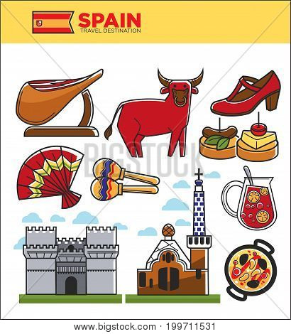 Spain travel famous landmark symbols, tourist culture attractions. Spanish flag, Madrid or Barcelona architecture, corrida bull and flamenco dress, paella food or sangria drink. Vector isolated icons