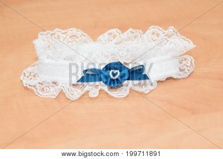 Bride isolated garter. Wedding ceremony  clothing accessories
