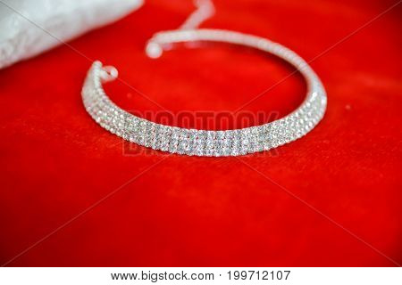 Bride wedding accessories. Isolated necklace close up details