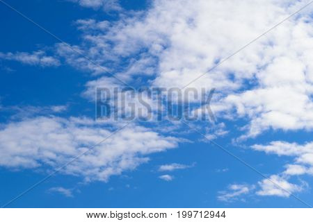 Background of blue sky and white clouds. Illustration for weather forecast.