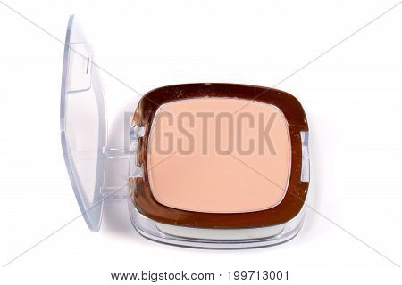 Make-up powder in box isolated on white background.