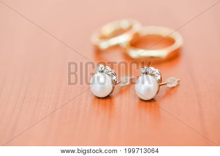 wedding bride accessories. isolated luxury earnings details
