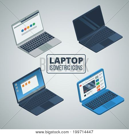 open laptop isometric icons set. vector illustrations.