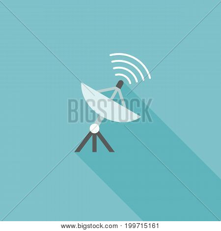 satellite icon with signal, flat design with long shadow