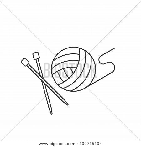 ball of yarn and needle, crochet outline icon