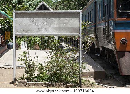 rail station blank billboard white transport   station