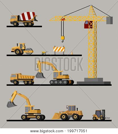 Construction vehicles collection with crane asphalt paver excavators bulldozer wheelbarrow forklift concrete mixer and heavy trucks isolated vector illustration