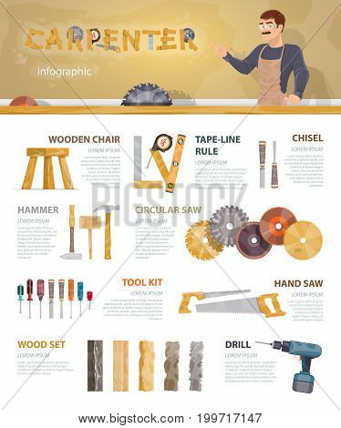 Colorful carpentry infographic template with professional instruments tools accessories and equipment of carpenter vector illustration