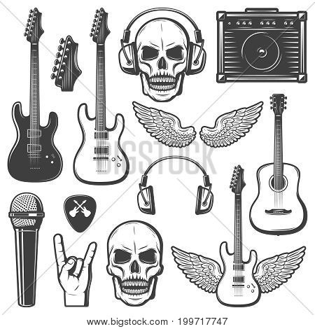 Vintage rock music elements set with guitars skull amplifier headphone mediator wings microphone hand gesture isolated vector illustration