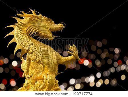 Dragon statue with nice lighting bokeh at night