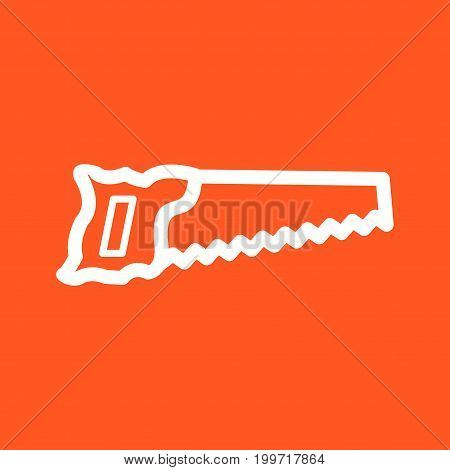 Carpenter, handsaw, saw icon vector image. Can also be used for Hand Tools. Suitable for mobile apps, web apps and print media.