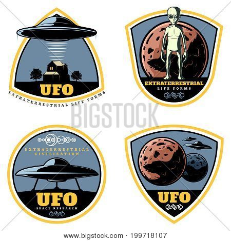 Vintage colored UFO emblems set with extraterrestrial life forms alien spaceships and unknown planets isolated vector illustration