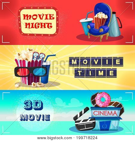 Colorful cinematography horizontal banners with drink snacks chair megaphone tickets 3D glasses clapperboard filmstrip cinema building vector illustration