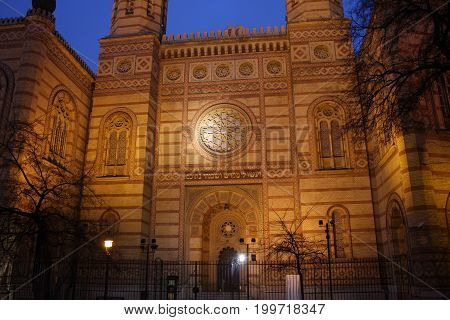 Exterior of the Great Synagogue in Dohany Street. The Dohany Street Synagogue (Tabakgasse Synagogue) is the largest synagogue in Europe. Budapest, Hungary.