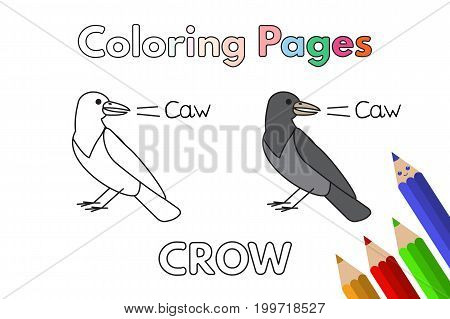 Cartoon crow illustration. Vector coloring book pages for children