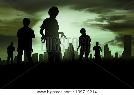 Silhoutte Of Zombies Walking