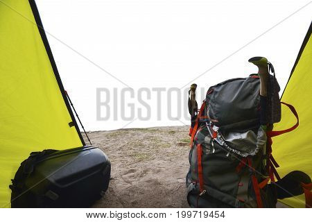 Tourists Backpack In The Tent
