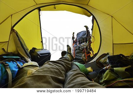 Traveler Lying Down In The Tent