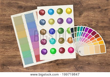 3d rendering color swatch template and chart on wood background